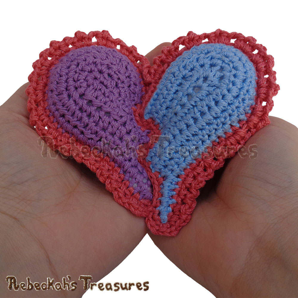 Little Pillow in My Hands! | Dolly's Broken Heart Pillow Story | A Crochet Pattern by @beckastreasures for @getstuffed | Is it an amigurumi or an appliqué? Will it be a necklace, a fob or a pillow? Are the hearts separated to share with your besties or kept whole to show broken hearts can be mended? YOU get to decide!!! | #crochet #pattern #brokenheart #valentine #heart #amigurumi #appliqué #necklace #fob #pillow