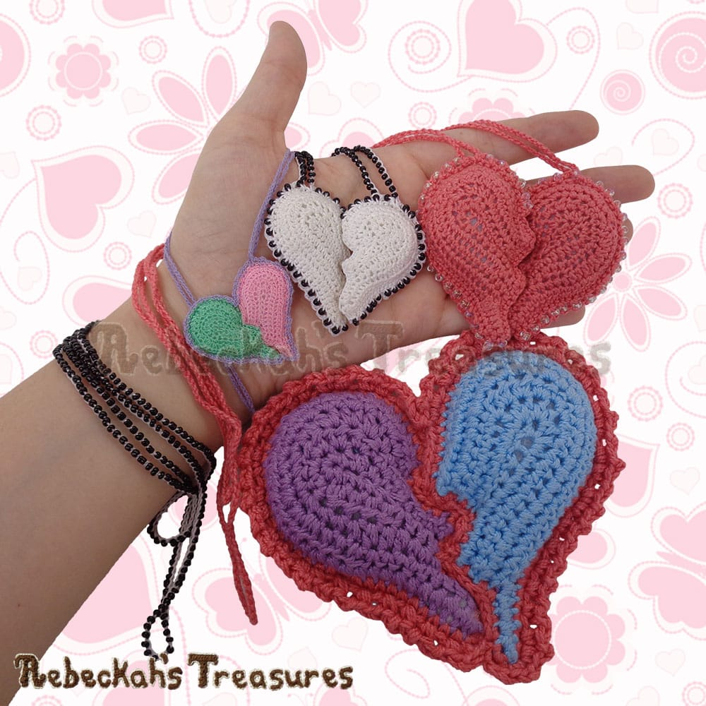 4 Broken Hearts in my hand! | Crochet Pattern by @beckastreasures for @getstuffed! | Will it be an amigurumi or an appliqué? Will it be a necklace, a fob or a pillow? Will the hearts be separated to share with your besties or kept whole to show broken hearts can be mended? YOU get to decide!!! | Available exclusively in #GetStuffedMagazine - the January 2017 issue - Get your copy today! | #crochet #pattern #brokenheart #valentine #heart #amigurumi #appliqué #necklace #fob #pillow