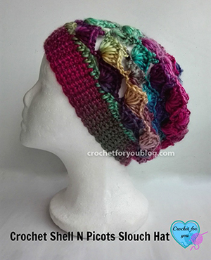 Crochet Shell N Picots Slouch Hat | Featured at Saturday Link Party #61 via @beckastreasures with @erangi_udeshika | Join the latest parties here: https://goo.gl/uUHihU #crochet