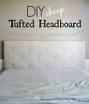 DIY Cheap Tufted Headboard | Featured on @beckastreasures Saturday Link Party 57 with Over The Apple Tree!
