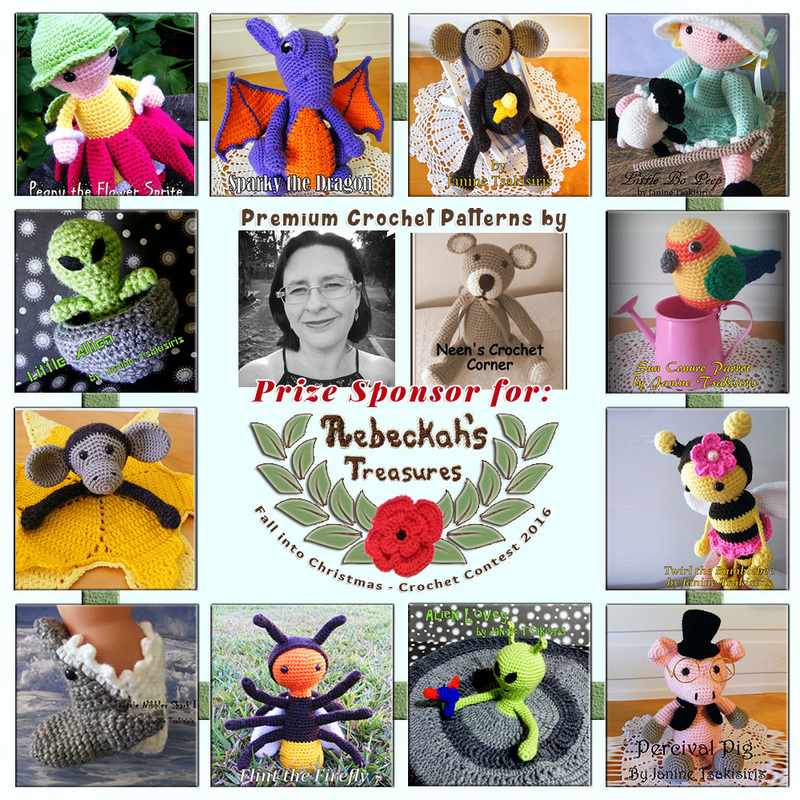 Premium Crochet Patterns by #NeensCrochetCorner to BUY or #WIN! | Featured at Neen's Crochet Corner - Sponsor Spotlight Round Up via @beckastreasures | #fallintochristmas2016 #crochetcontest #spotlight #crochet #roundup