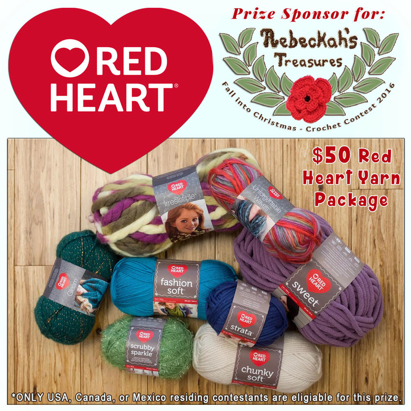 #WIN an 8 Skein - $50 Yarn Package from @redheartyarns! | Featured at Red Heart - Sponsor Spotlight Round Up via @beckastreasures | #fallintochristmas2016 #crochetcontest #spotlight #crochet #roundup