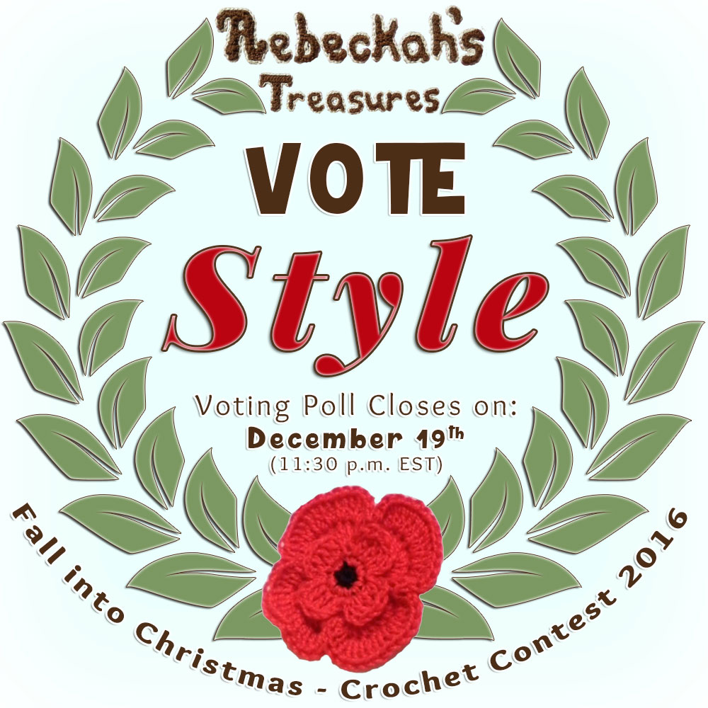 VOTE STYLE in the Fall into Christmas 2016 crochet contest via @beckastreasures! | Help your favourites win these awesome prizes. | Up to 5 votes daily! Vote here: https://goo.gl/8Lwng5 #fallintochristmas2016