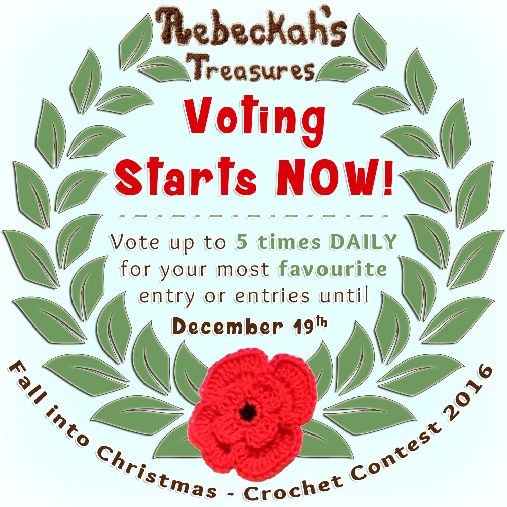 Cast your votes in the Fall into Christmas 2016 crochet contest via @beckastreasures and help your favourites win incredible crochet packages!!! | Up to 5 votes daily in EACH category for a total of 15 votes per day! Learn more here: https://goo.gl/kBLEjE #fallintochristmas2016
