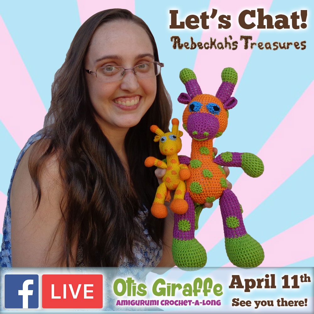 Let's chat! JOIN me for #FacebookLIVE at #RebeckahsTreasures to discuss the #Otis #Giraffe - #Amigurumi Crochet-A-Long by @beckastreasures | #OtisGiraffeCAL Part 3: LIMBS (arms, legs, tail) | #crochet #pattern #CAL | See you there - #Tuesday, #April 11th, 2017!