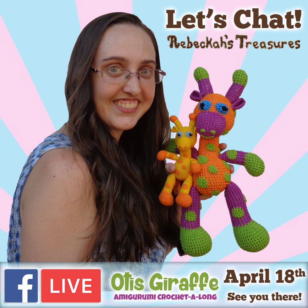 Let's chat! JOIN me for #FacebookLIVE at #RebeckahsTreasures to discuss the #Otis #Giraffe - #Amigurumi Crochet-A-Long by @beckastreasures | #OtisGiraffeCAL Part 5: FACIAL FEATURES (muzzle, ears, eyes, horns) | #crochet #pattern #CAL | See you there - #Tuesday, #April 18th, 2017!