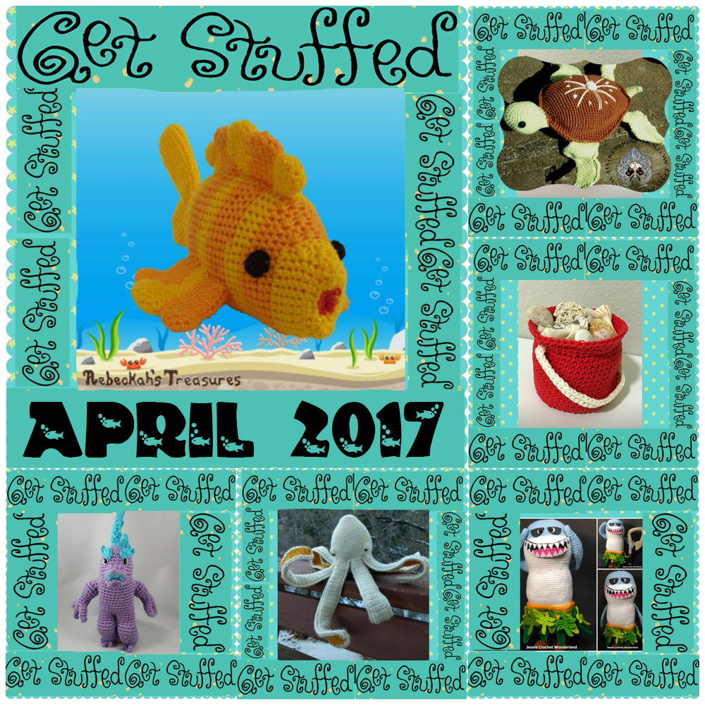 SIX Seashore Crochet Patterns, including Goldfishy Amigurumi by @beckastreasures, are available in the April 2017 issue of @getstuffed - Grab your copy today! | #crochet #pattern #goldfishy #fish #goldfish #amigurumi #GetStuffedMagazine
