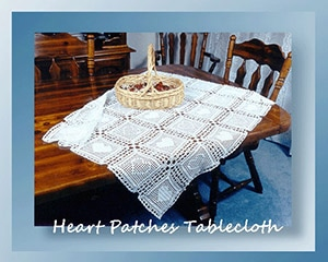 Heart Patches Tablecloth by @crochetmemories | via Be Mine Décor - A LOVE Round Up by @beckastreasures | #crochet #pattern #hearts #kisses #valentines #love