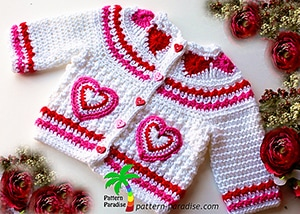 Hearts of Love Sweater by @patternparadise | via I Heart Clothes - A LOVE Round Up by @beckastreasures | #crochet #pattern #hearts #kisses #valentines #love