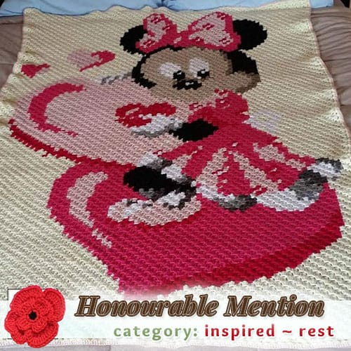Minnie Mouse C2C Blanket | REST Category - Honourable Mention (more than 100 votes) at @beckastreasures | Fall into Christmas Crochet Contest 2016 (October 30th - December 21st)