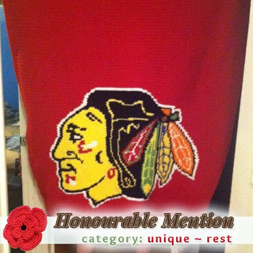 BlackHawks Afghan | REST Category - Honourable Mention (more than 100 votes) at @beckastreasures | Fall into Christmas Crochet Contest 2016 (October 30th - December 21st)