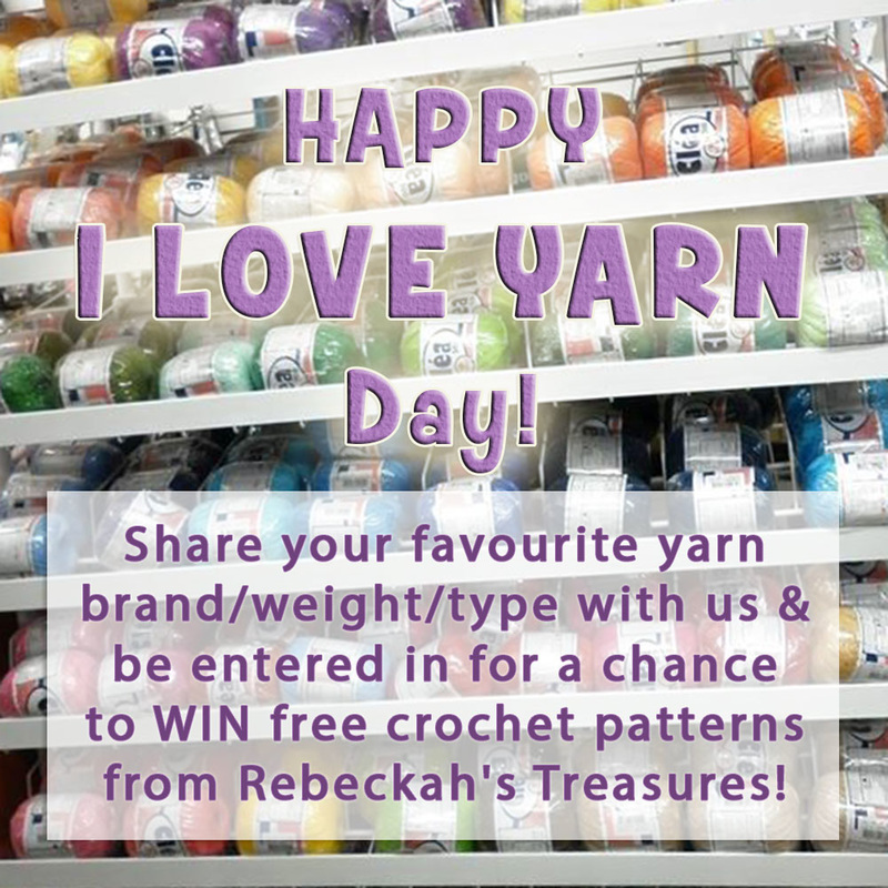 #iloveyarndaywithbecka - #giveaway - Share your favourite yarn with us for a chance to #WIN #free #crochet patterns from @beckastreasures! Visit the blog to learn more...