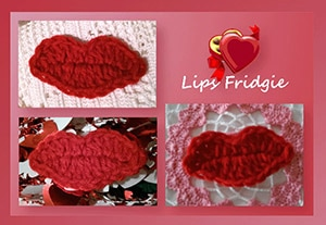 Lips Fridgie by @crochetmemories | via Be Mine Décor - A LOVE Round Up by @beckastreasures | #crochet #pattern #hearts #kisses #valentines #love