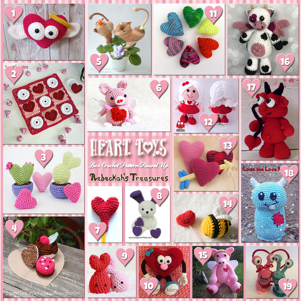 I Heart Toys! (Collage A) | A LOVE Round Up by @beckastreasures with @FreshStitches @LittleOwlsHut @melissaspattrns & MORE! | Featuring 38 #Crochet #Patterns from 23 designers (20 #FREE + 18 Premium) | #hearts #kisses #valentines #love