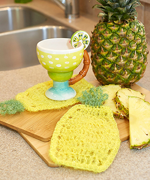 Pineapple Scrubby Dishcloth - Free Crochet Pattern by Carolyn Calderon | Featured at Red Heart - Sponsor Spotlight Round Up via @beckastreasures with @redheartyarns| #fallintochristmas2016 #crochetcontest #spotlight #crochet #roundup