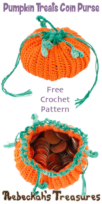 Pumpkin Treats Coin Purse by @beckastreasures | Free Crochet Pattern via A Designer's Potpourri Year-Long CAL with @countrywillow12, @crochetmemories, @Sherrys2boyz & @ArtofaDG for October 2016 | #pumpkin #crochet #purse #autumn | Join today!