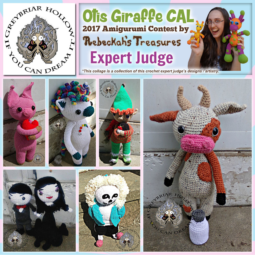 Greybriar Hollow | Expert Judge in the #OtisGiraffeCAL #Contest by @beckastreasures with @GreybriarHollow | Meet the Judges here: https://goo.gl/tNGHN2 | Public voting from June 12-26, 2017 | #FREE #CAL available in #English #Dansk #Nederlands #Deutsche #עִברִית #Español & #Svenska - See it here: https://goo.gl/9Fvu2Z | #otis #giraffe #amigurumi #crochet #pattern #contest #April #May #June #YouTube