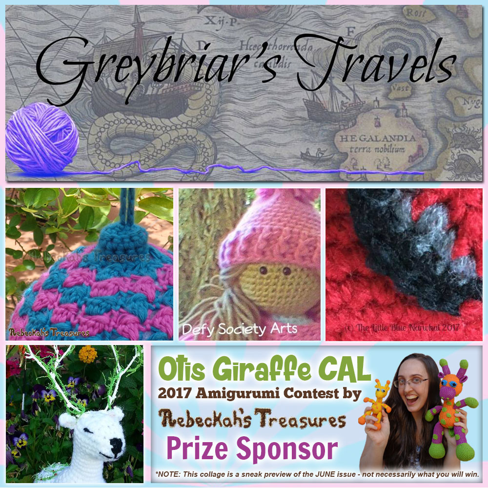 Greybriar Travels Magazine | Prize Sponsor in the #OtisGiraffeCAL #Contest by @beckastreasures with #GreybriarTravelsMagazine | #CAL in #English #Dansk #Nederlands #Deutsche #עִברִית #Español & #Svenska | Crochet your giraffe today and enter the contest for a chance to win prizes from 13 businesses! | Submissions through to the end of the day EST on May 31st, 2017 | #otis #giraffe #amigurumi #crochet #pattern #contest #April #May #June #YouTube