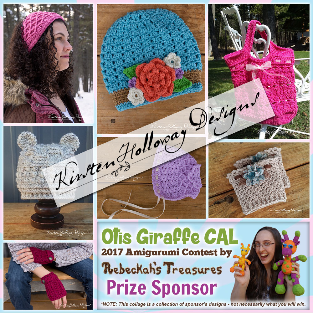 Kirsten Holloway Designs | Prize Sponsor in the #OtisGiraffeCAL #Contest by @beckastreasures with #KirstenHollowayDesigns | #CAL in #English #Dansk #Nederlands #Deutsche #עִברִית #Español & #Svenska | Crochet your giraffe today and enter the contest for a chance to win prizes from 13 businesses! | Submissions through to the end of the day EST on May 31st, 2017 | #otis #giraffe #amigurumi #crochet #pattern #contest #April #May #June #YouTube