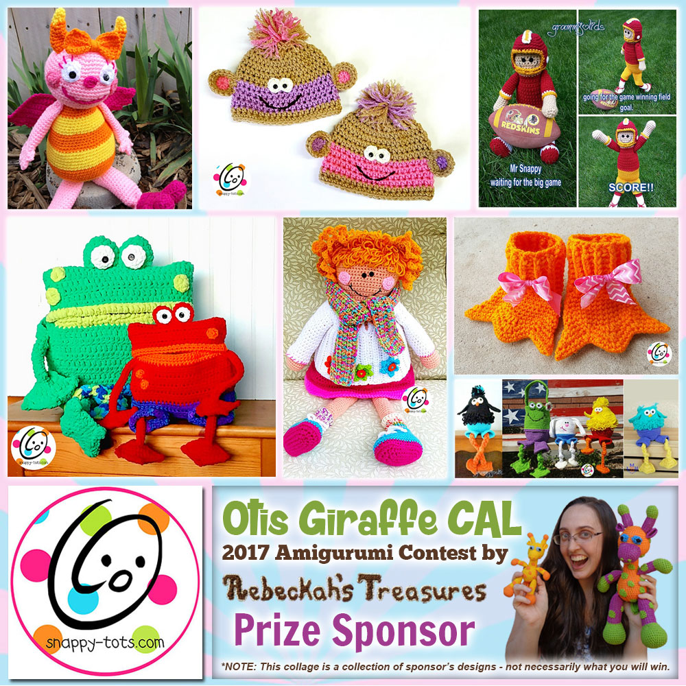 Snappy Tots | Prize Sponsor in the #OtisGiraffeCAL #Contest by @beckastreasures with @SnappyTots | #CAL in #English #Dansk #Nederlands #Deutsche #עִברִית #Español & #Svenska | Crochet your giraffe today and enter the contest for a chance to win prizes from 13 businesses! | Submissions through to the end of the day EST on May 31st, 2017 | #otis #giraffe #amigurumi #crochet #pattern #contest #April #May #June #YouTube