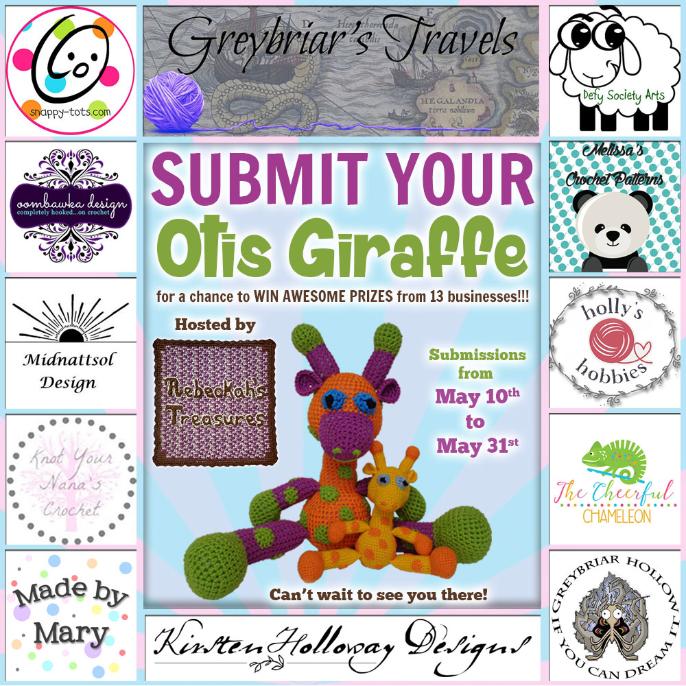 #OtisGiraffeCAL #Contest by @beckastreasures with @OombawkaDesign @SnappyTots @DefySocietyArts @GreybriarHollow @Hollys_Hobbies @KYNC2010 @melissaspattrns @Cheerychameleon #GreybriarTravelsMagazine #KirstenHollowayDesigns #MadeByMary #MidnattsolDesign | #CAL in #English #Dansk #Nederlands #Deutsche #עִברִית #Español & #Svenska | Crochet your giraffe today and enter the contest for a chance to win prizes from 13 businesses! | Submissions through to the end of the day EST on May 31st, 2017 | #Otis #giraffe #crochet #pattern #contest #April #May #June #YouTube
