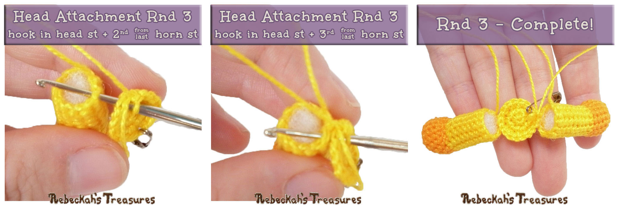 Rnd3 - #JoinAsYouGo Tutorial Photos | #Otis #Giraffe - #Amigurumi Crochet-A-Long by @beckastreasures | #OtisGiraffeCAL Part 6: HEAD & FINISHING TOUCHES - Watch the #Video #Tutorial AND #Download the crochet pattern for this part of the #CAL in #English #Dansk #Nederlands #Deutsche #עִברִית #Español & #Svenska! | #crochet #pattern #April #YouTube