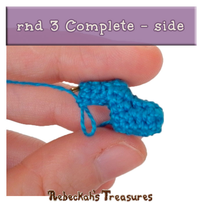 WIP Picture 10 | Pony Base rnd 3 Complete - Side View via @beckastreasures | FREE Pencil Topper / Finger Puppet Crochet Pattern!