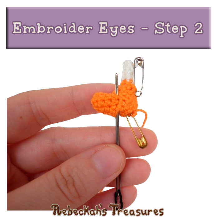 WIP Picture 13 | Embroider Unicorn Eyes via @beckastreasures | FREE Pencil Topper / Finger Puppet Crochet Pattern!
