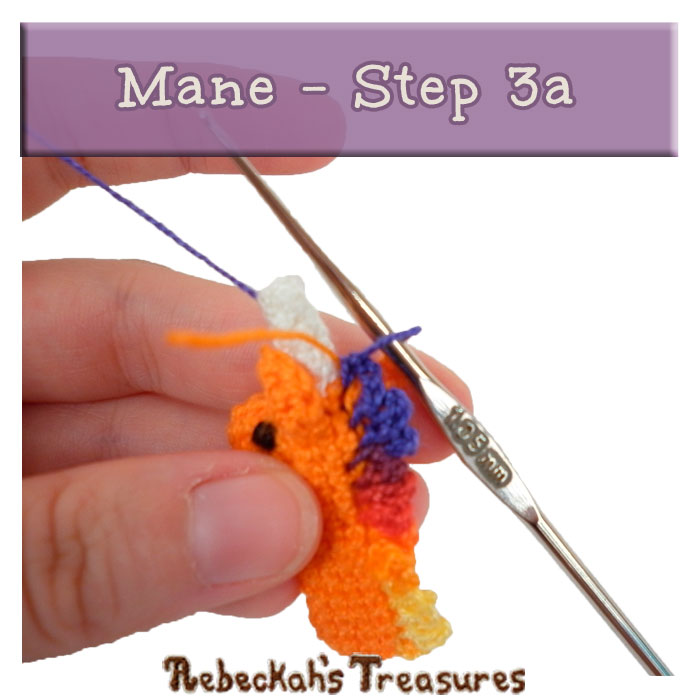 WIP Picture 32 | Crocheting the Unicorn's Mane via @beckastreasures | FREE Pencil Topper / Finger Puppet Crochet Pattern!