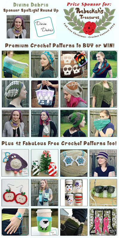 Divine Debris - Sponsor Spotlight Round Up via @beckastreasures | 12 Premium + 12 #FREE Crochet Patterns by @divinedebrisweb | #fallintochristmas2016 #crochetcontest #spotlight #crochet #roundup