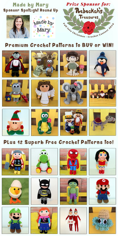 Made by Mary - Sponsor Spotlight Round Up via @beckastreasures | 18 Premium + 12 #FREE Crochet Patterns by #MadebyMary | #fallintochristmas2016 #crochetcontest #spotlight #crochet #roundup