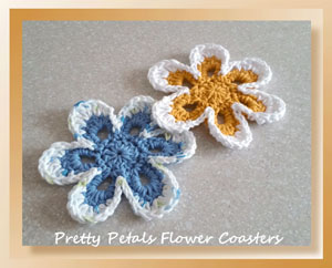 Pretty Petals Flower Coasters | Featured on @beckastreasures Saturday Link Party 59 with @crochetmemories!