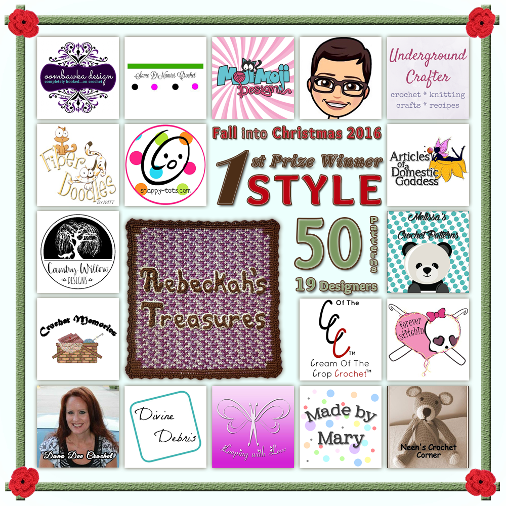 VOTE STYLE in the Fall into Christmas 2016 crochet contest via @beckastreasures! | Help your favourites win these awesome prizes. | FIRST PRIZE: 50 #free #crochet patterns! | Up to 5 votes daily! Vote here: https://goo.gl/8Lwng5 #fallintochristmas2016