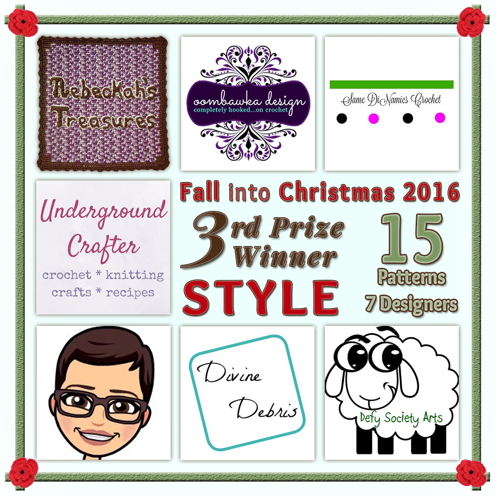 VOTE STYLE in the Fall into Christmas 2016 crochet contest via @beckastreasures! | Help your favourites win these awesome prizes. | THIRD PRIZE: 15 #free #crochet patterns! | Up to 5 votes daily! Vote here: https://goo.gl/8Lwng5 #fallintochristmas2016