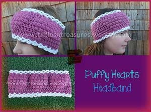 Puffy Hearts Headband by @TriflsNTreasurs | via I Heart Jewels & Hair - A LOVE Round Up by @beckastreasures | #crochet #pattern #hearts #kisses #valentines #love