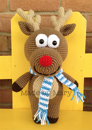 Rudolph Reindeer Amigurumi - Crochet Pattern by #MadebyMary | Featured at Made by Mary - Sponsor Spotlight Round Up via @beckastreasures | #fallintochristmas2016 #crochetcontest #spotlight #crochet #roundup