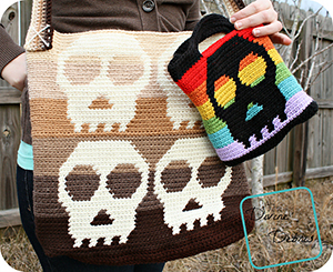 Sally Skulls Bags - Crochet Pattern by @divinedebrisweb | Featured at Divine Debris - Sponsor Spotlight Round Up via @beckastreasures | #fallintochristmas2016 #crochetcontest #spotlight #crochet #roundup