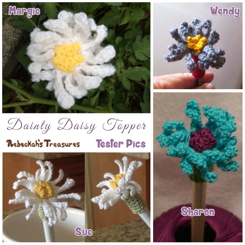 Dainty Daisy Pencil Topper / Finger Puppet | FREE crochet pattern via @beckastreasures | Tester pics by Margie E., Sharon E., Sue B. & Wendy B.