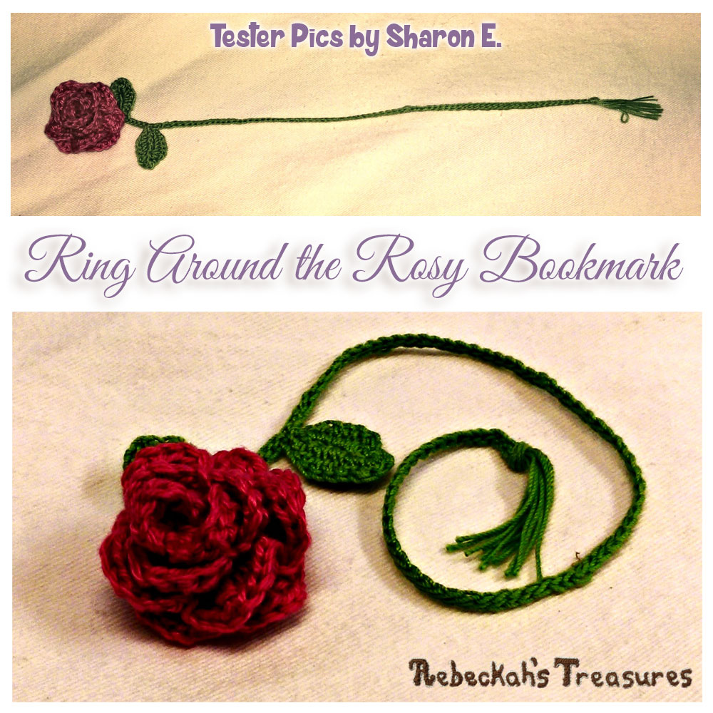 Ring Around the Rosy Bookmark | Crochet Pattern by @beckastreasures | Tester Pictures by Sharon