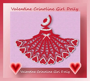 Valentine Crinoline Girl Doily by @crochetmemories | via Be Mine Décor - A LOVE Round Up by @beckastreasures | #crochet #pattern #hearts #kisses #valentines #love