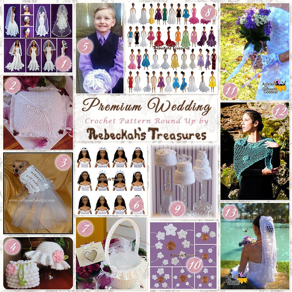 13 Premium #Wedding #Crochet #Patterns Round Up by @beckastreasures | Featuring 6 designers: @ArtofaDG @cutecrochet @PoshPoochDesign & MORE! | #bride #love