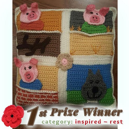 Cathy Padgett - 3 Little Piggies and Bad Wolf Pillow | 1st Prize in the REST Category at @beckastreasures | Fall into Christmas Crochet Contest 2016 (October 30th - December 21st)