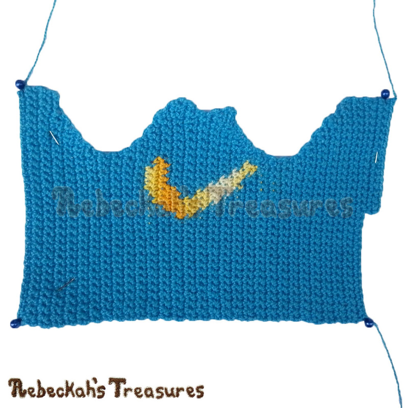 Working on Fashion Dude Running Tops - Blue with Yellow Check Symbol - via @beckastreasures | Crochet patterns to come...